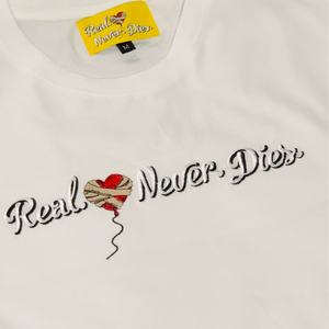 WHITE REAL.💔.NEVER.DIES. TEE