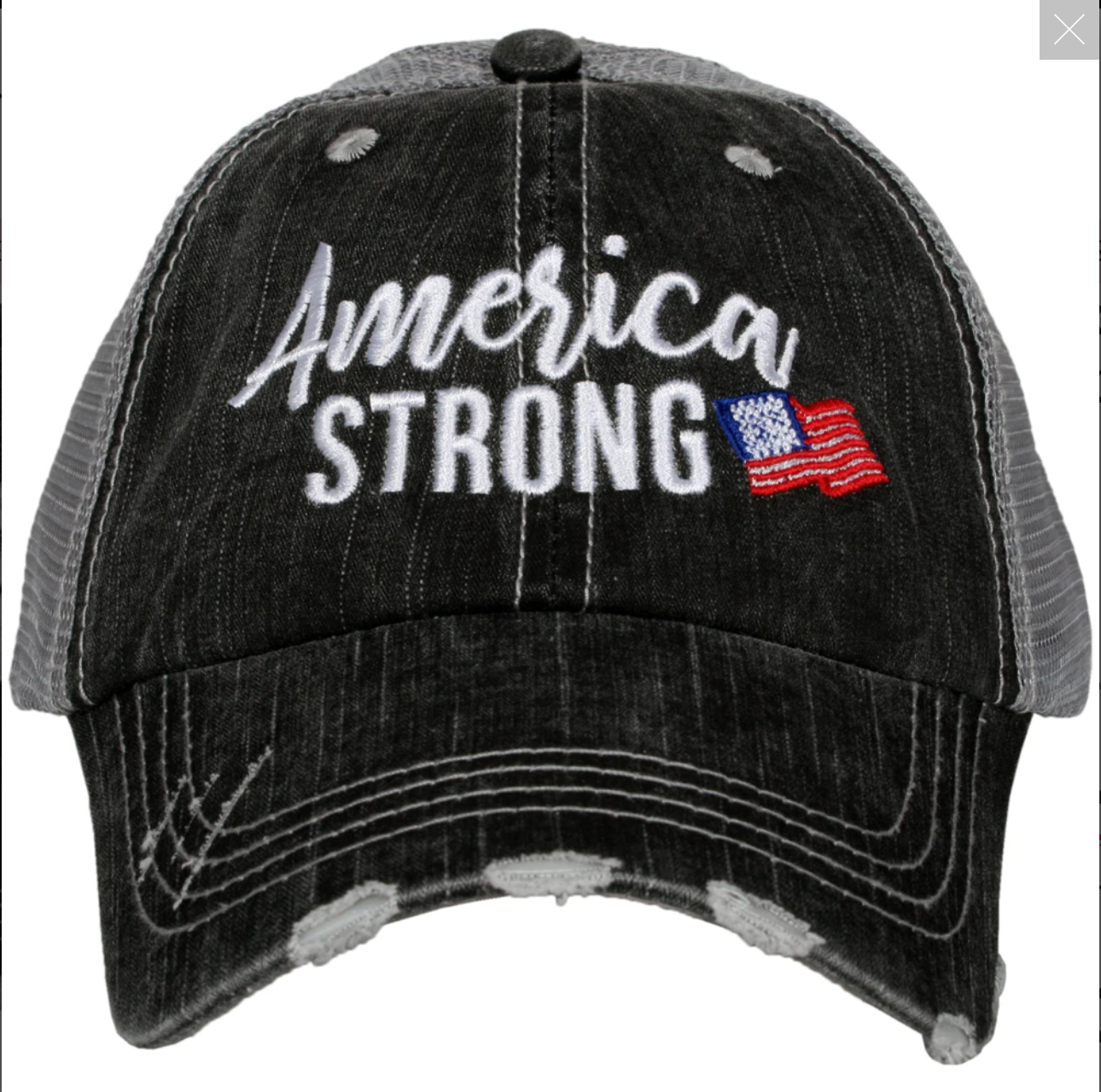 America Strong Distressed Trucker Hat
