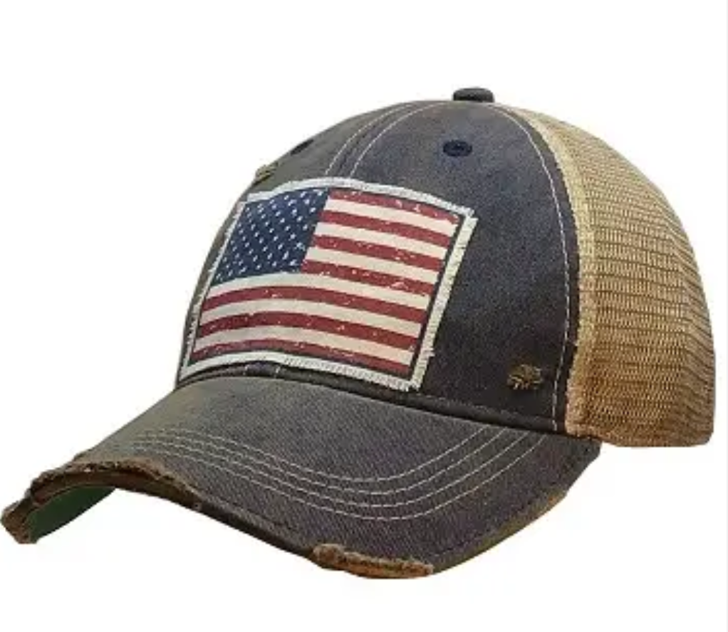 America Flag distressed Trucker Hat