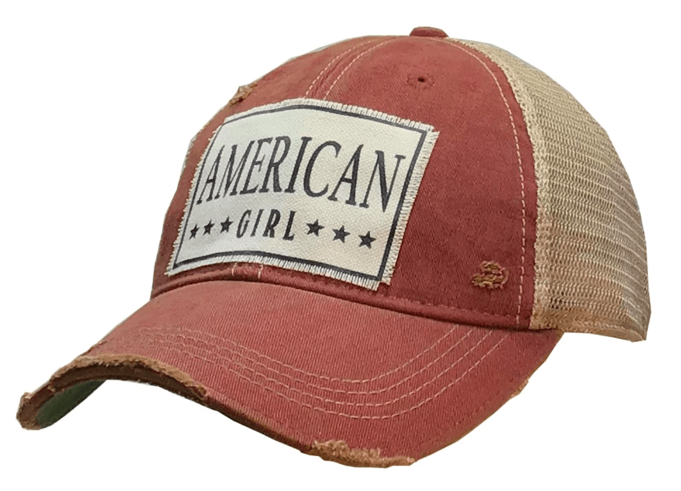 Red Distressed Trucker AMERICAN Girl Hat