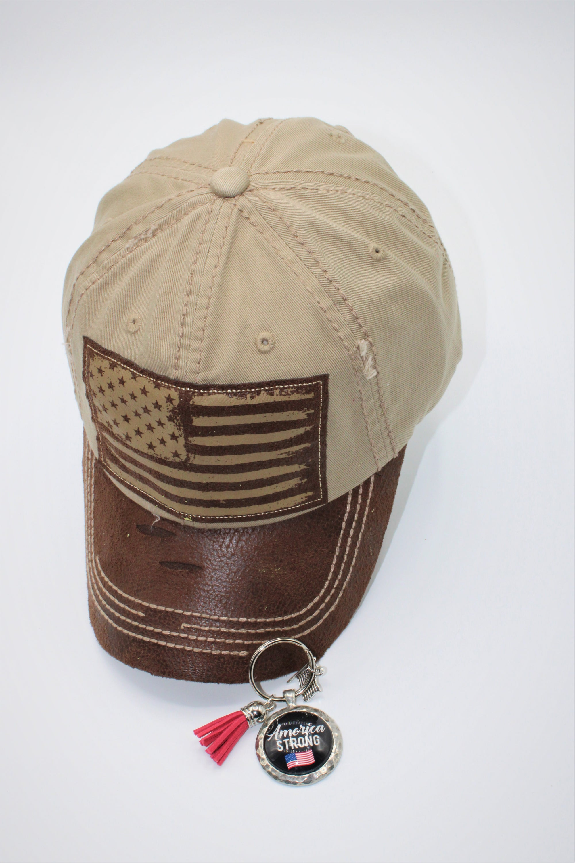 Brown American Flag Gift Set - Hat AND Pewter USA Handmade Keychain!