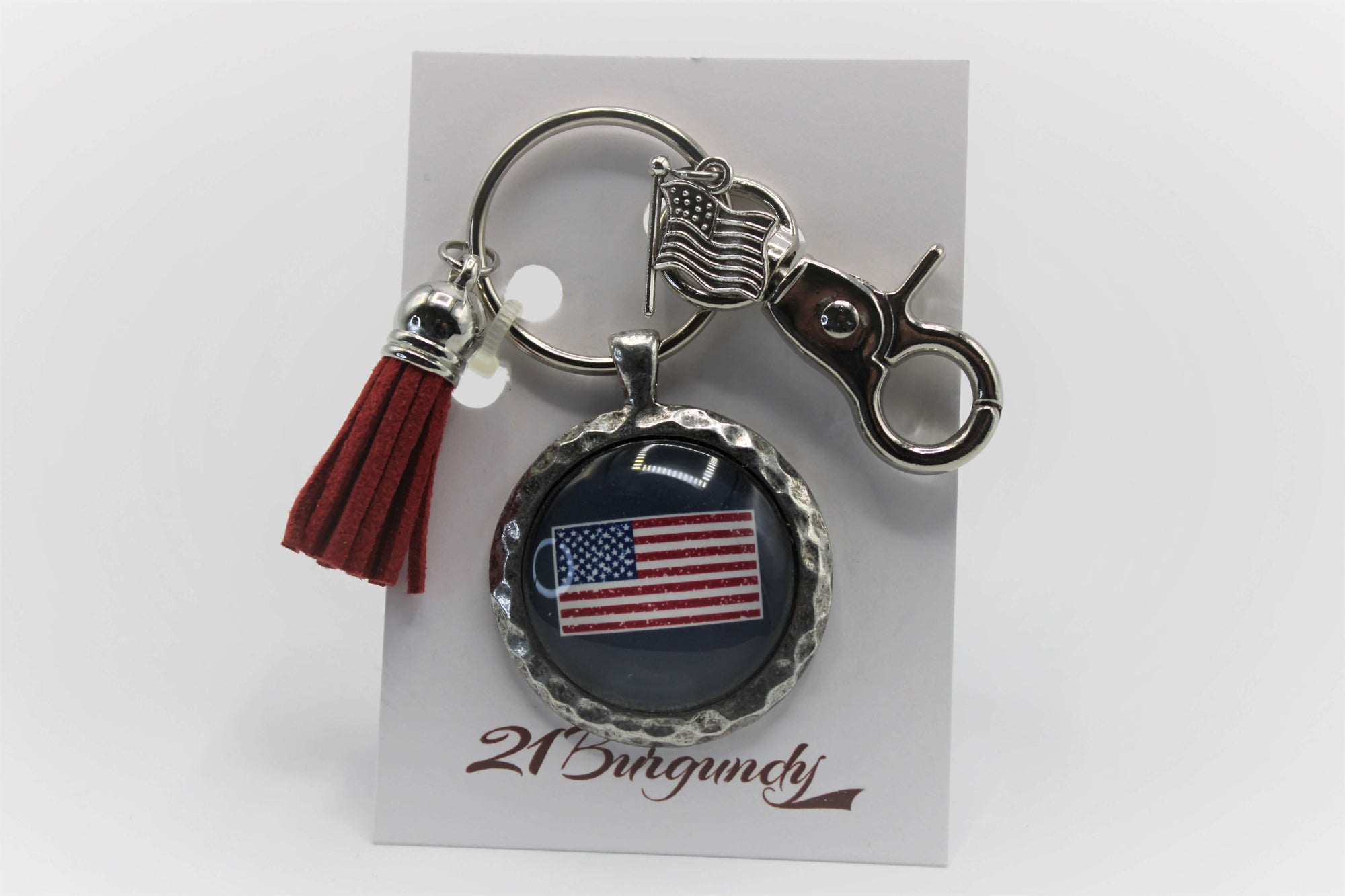 American Flag - Pewter Hammered Keychain - USA Made