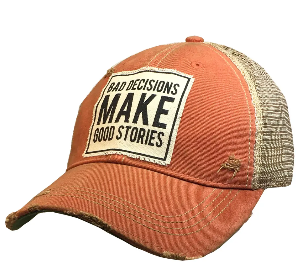 Orange Bad Decisions Trucker Hat