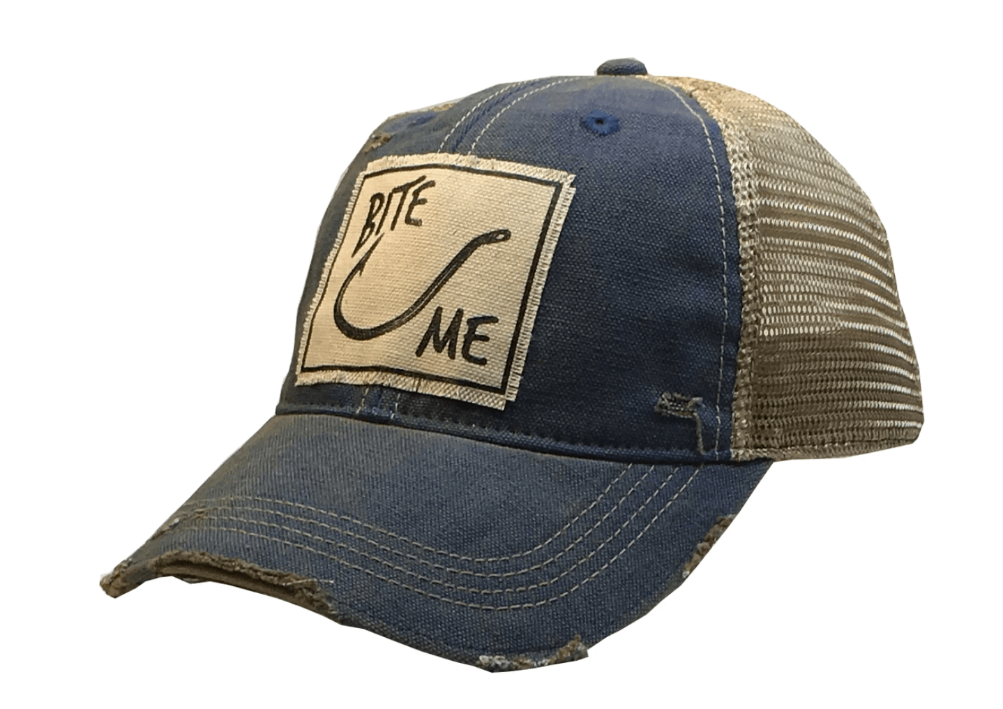 Royal Blue Distressed Bite Me Trucker Hat