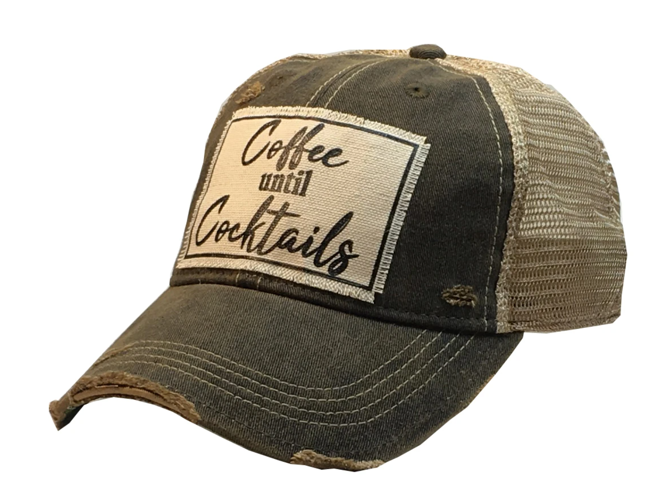 Black/Brown Distressed Coffee Until Cocktails Trucker Hat