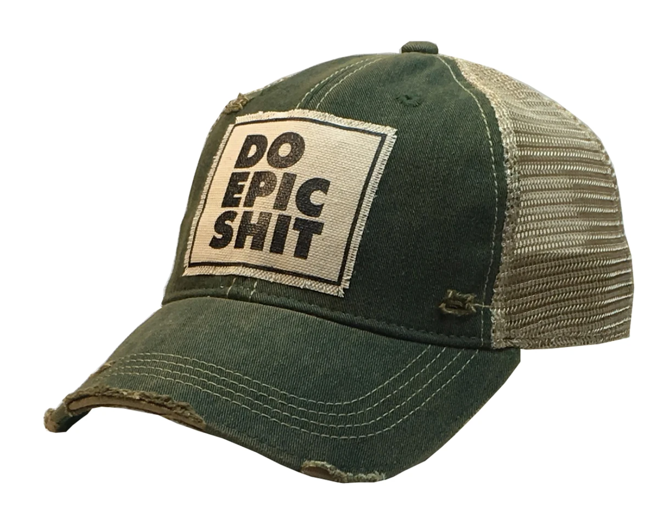 Green Distressed Do Epic Shit Trucker Hat