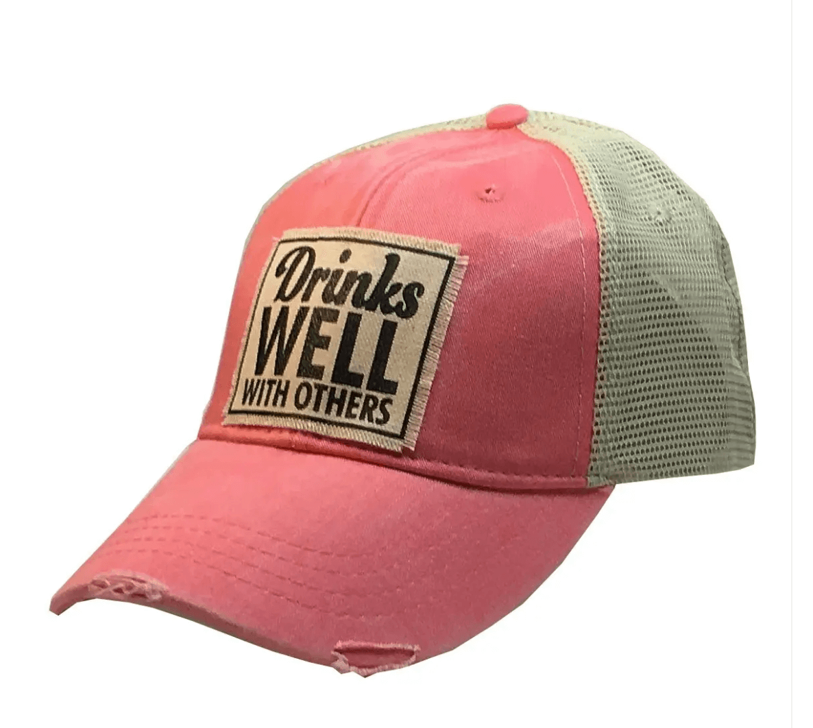 Coral Drinks Well With Others Trucker Hat