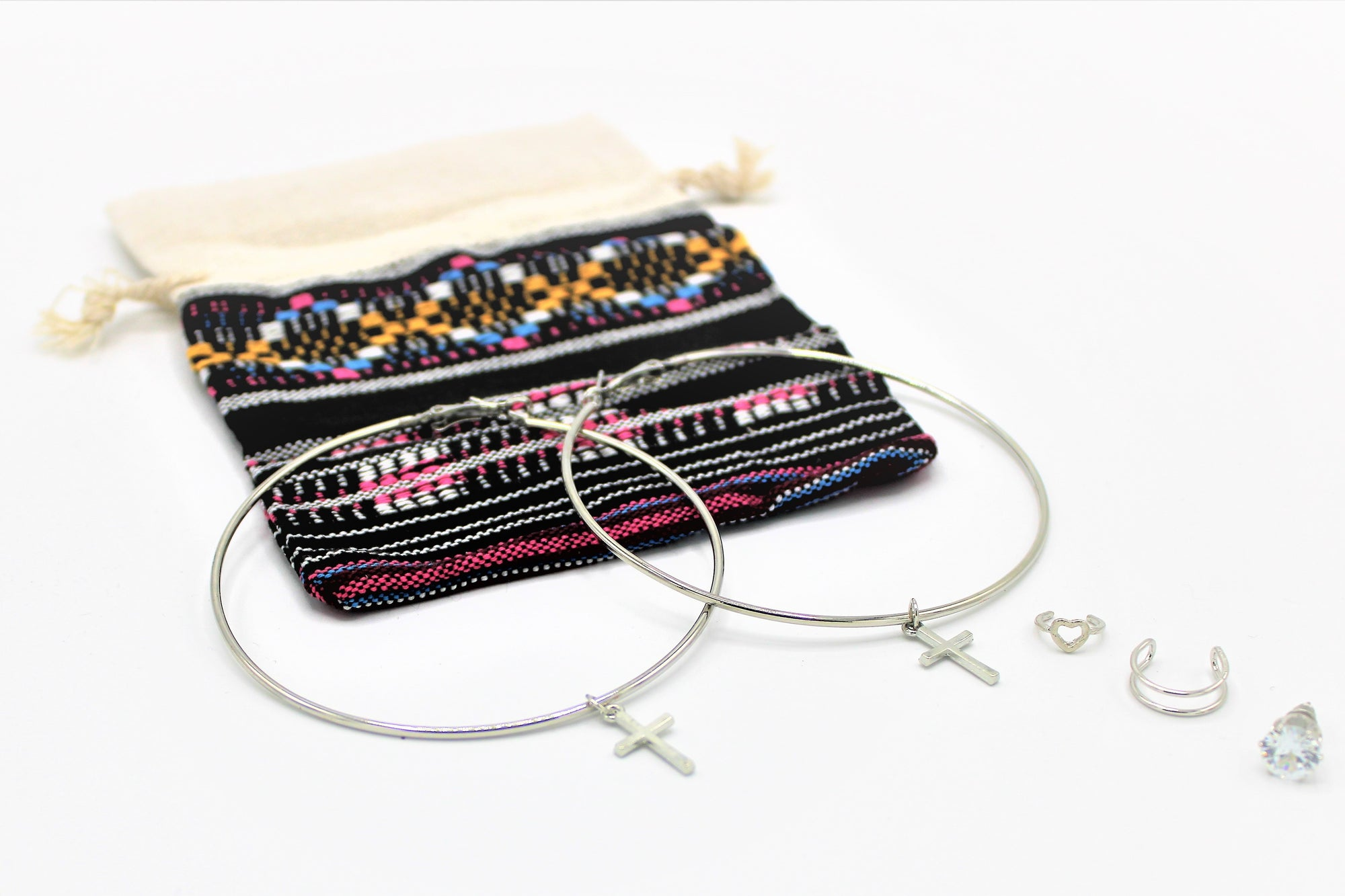 Bohemian Bag with Silver Earring Set