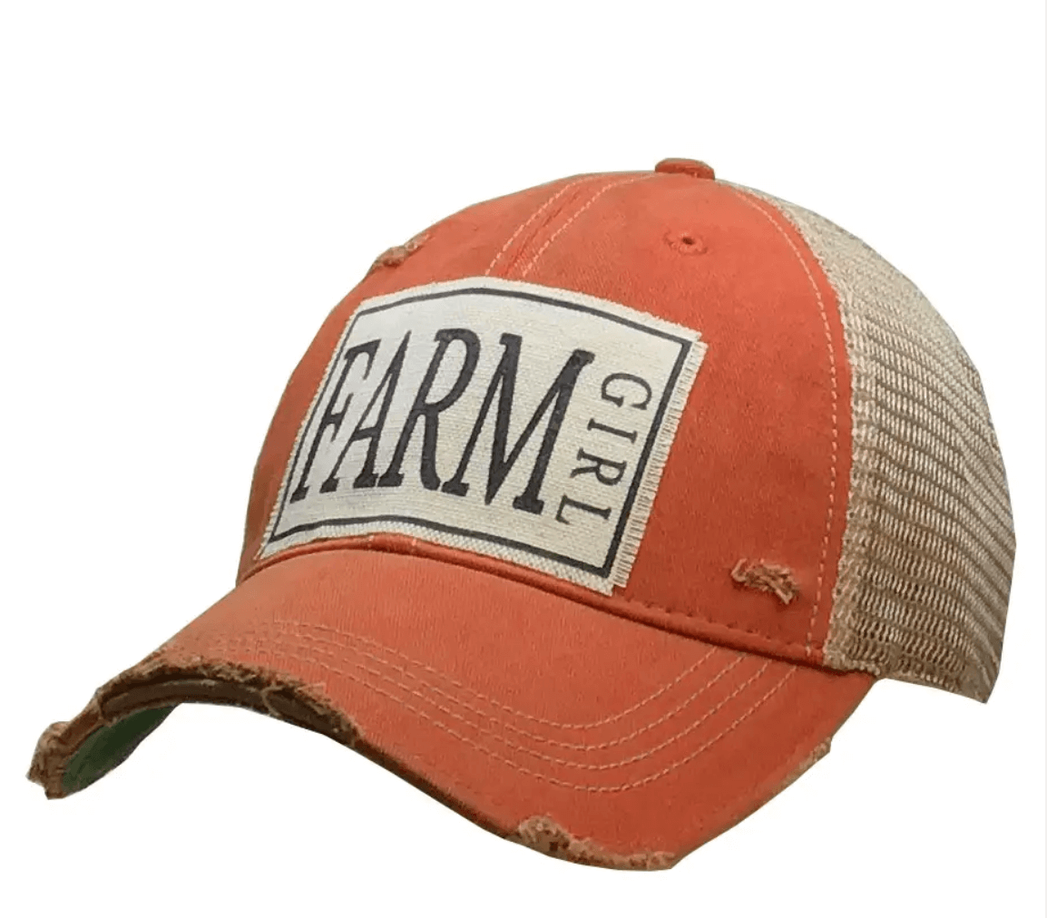 Orange Farm Girl Trucker Hat