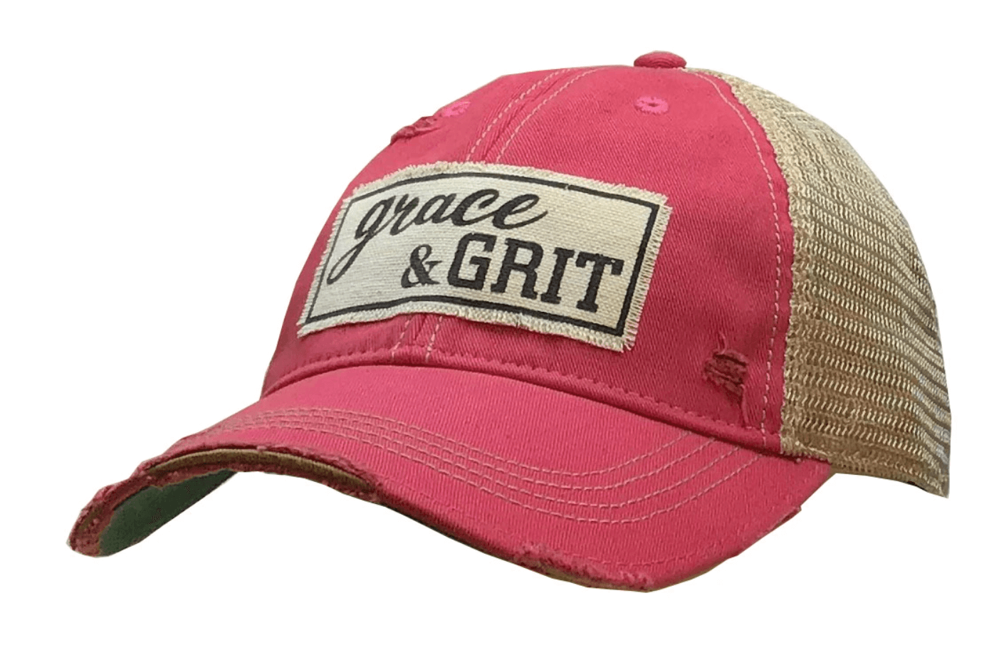 Hot Pink Distressed Trucker Hat
