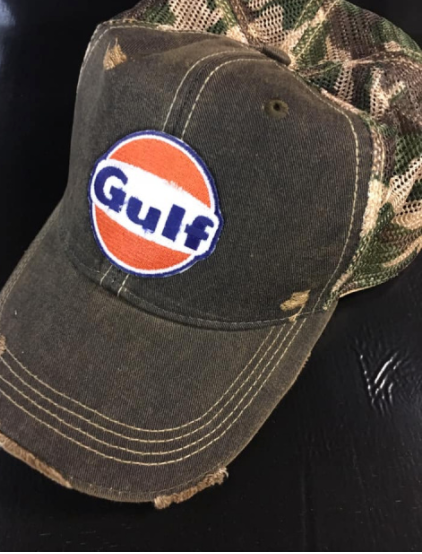 Gulf Cap with Camo Mesh Back  - Vintage Style Distressed Gulf Patch