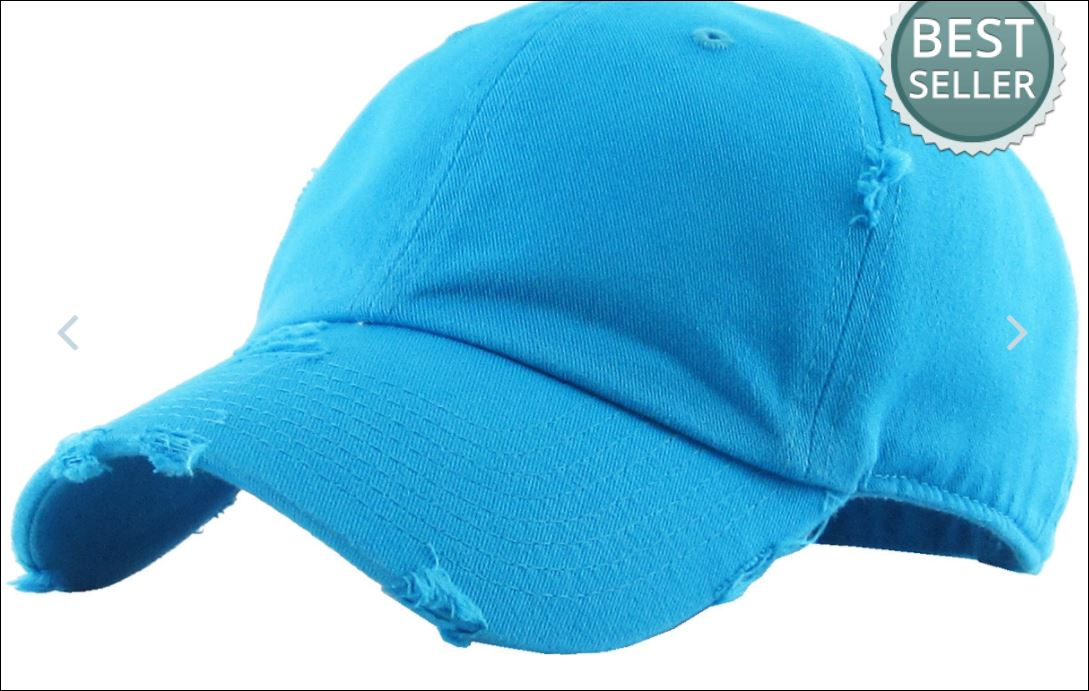 Distressed Sky Blue Denim Baseball Cap