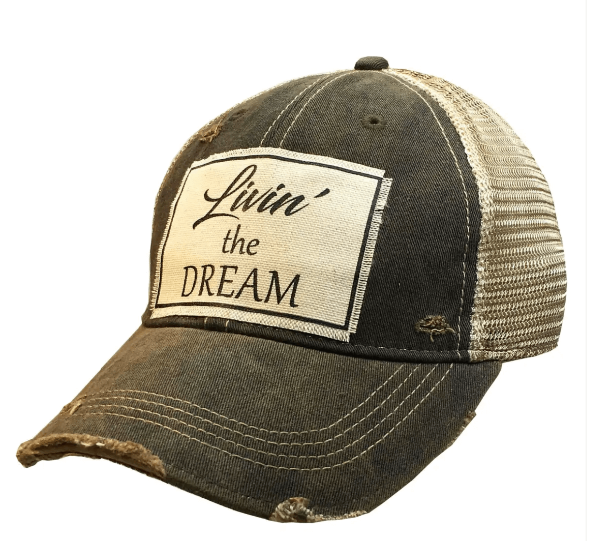 Black Distressed Livin' The Dream Trucker Hat