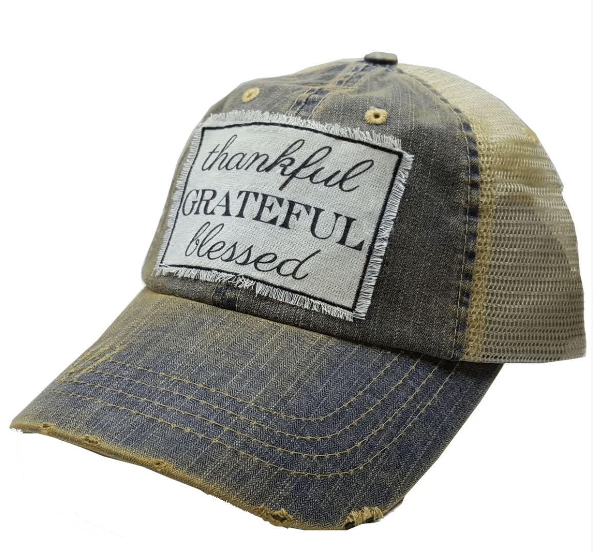 Blue Denim Thankful Grateful Blessed Baseball Hat