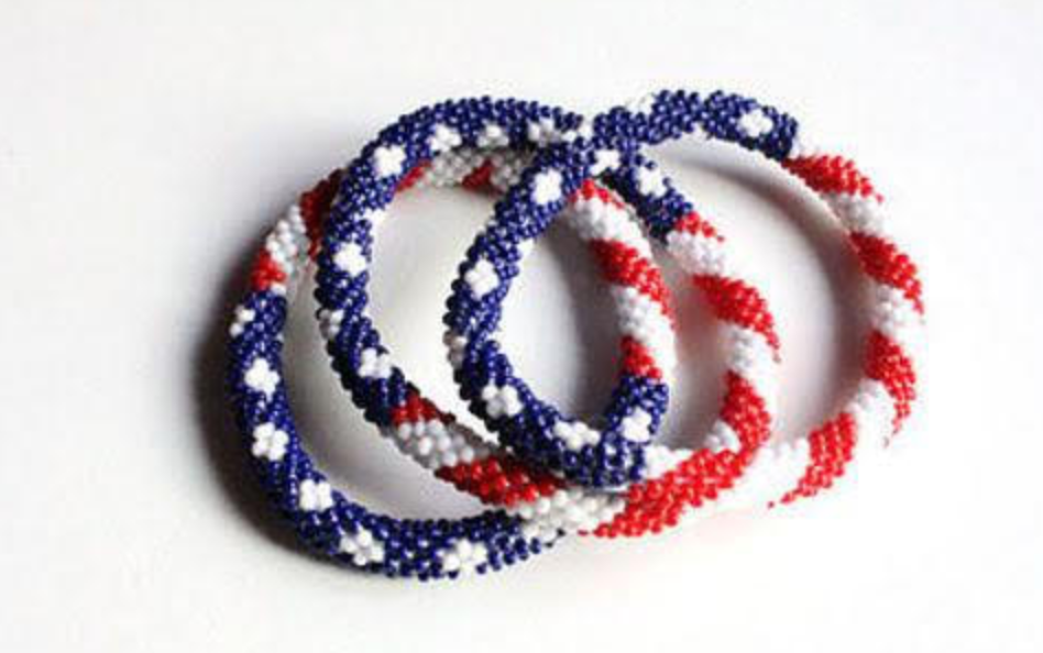 Red, White and Blue Roll on Bracelets