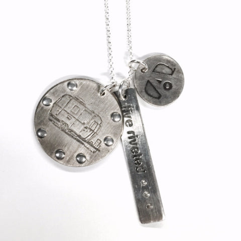"Airstream Jewelry - ""Live Riveted"" Tag, Logo Charm and Trailer Round Medallion with Rivets"
