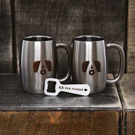 "Airstream ""Insulated Mugs and Bottle Opener Bundle"" - Airstream Brands"