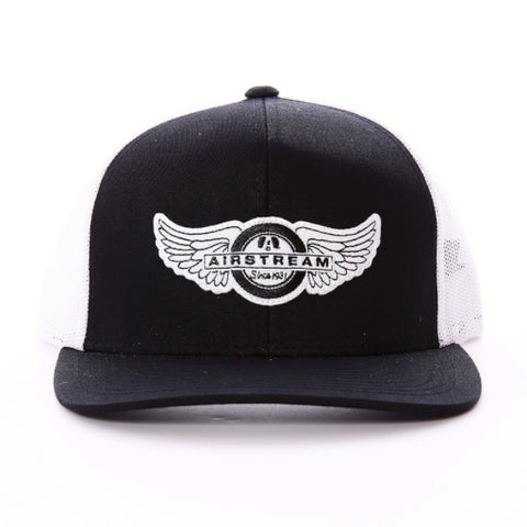Airstream Tire Wings Trucker Hat - Black/White - Airstream Brands