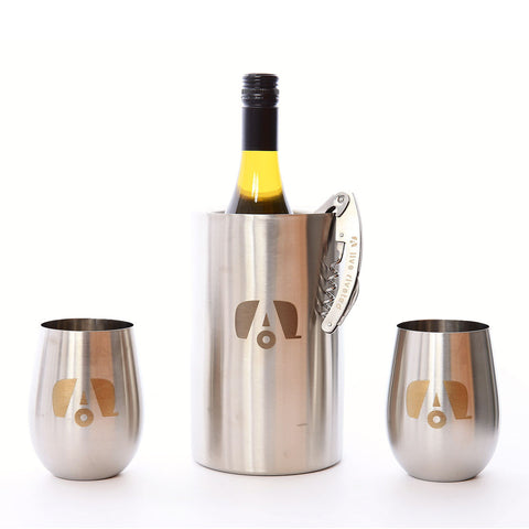 "Airstream ""Stainless Stemless Wine Glass with Logo"""
