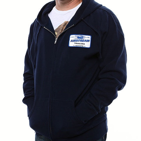 Airstream Hoodie Nameplate Zip - Navy - Airstream Brands