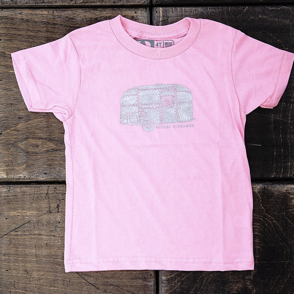 "Airstream Kids Silver Trailer ""Future Streamer"" T-Shirt - Pink - Airstream Brands"