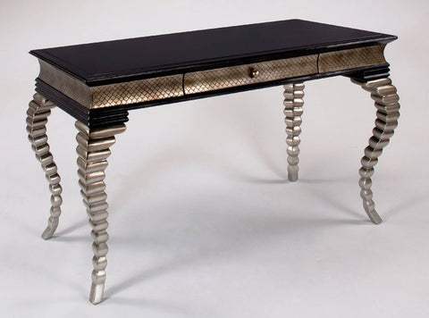 Pewter N Black Wood Desk