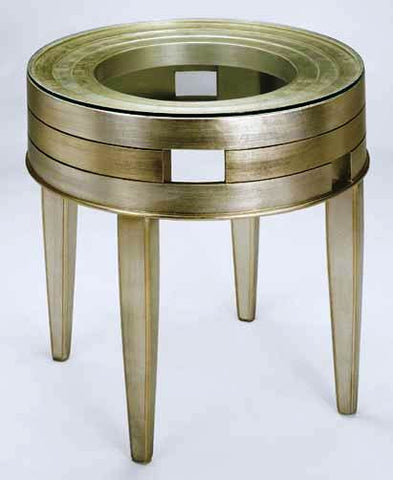Pewter N Gold Round Accent Table