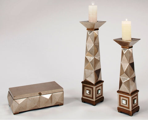 Satin N Gold Candle Holders & Box Set