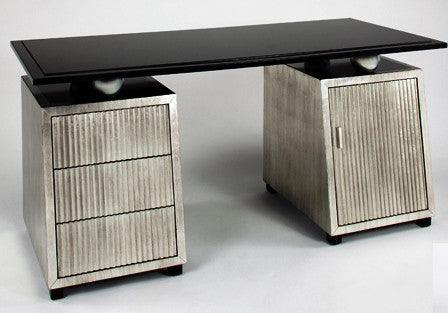 Pewter Black Glass Top Desk