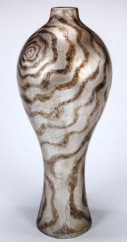V- Shimmering Animal Print Floor Vase