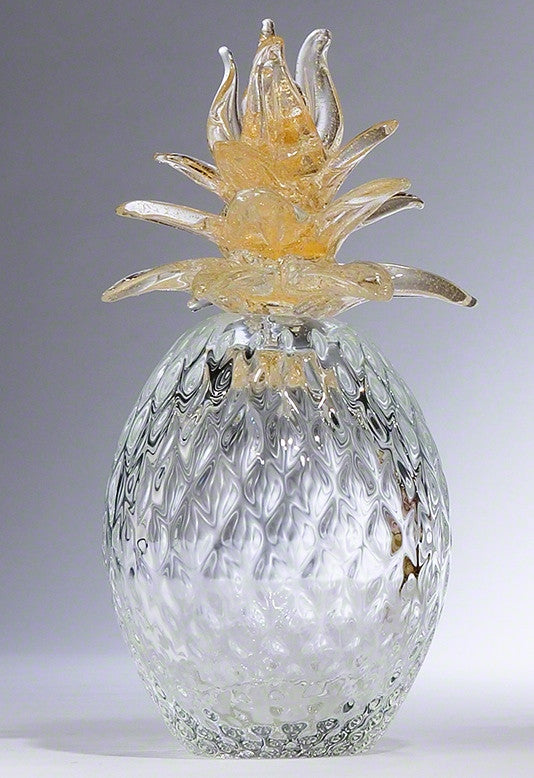 Murano Glass Pineapple w/Gold Leaves
