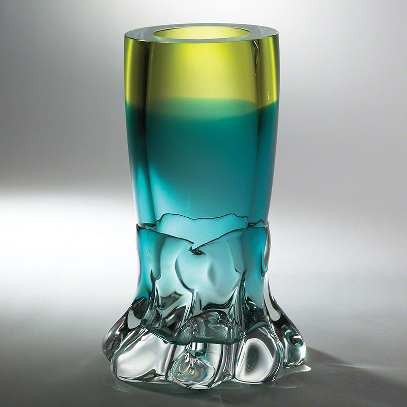 Meltdown Vase-Aqua/Green