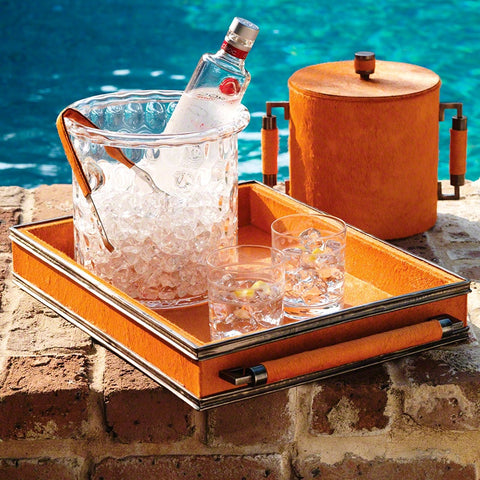 Double Handle Serving Tray & Ice Bucket- Orange/Bronze