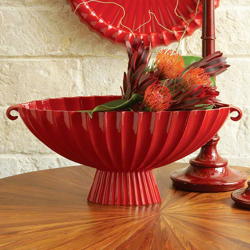 Fluted Oval Compote-Red