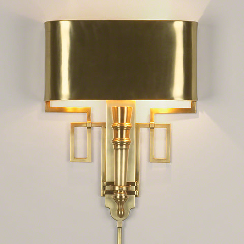 Torch Sconce w/Shade-Antique Brass