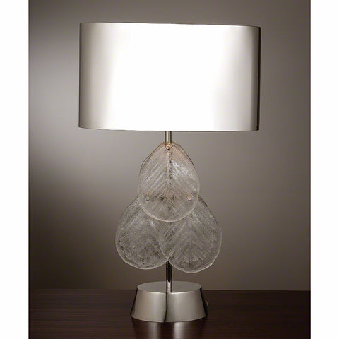 Murano Glass Leaf Table Lamp - Nickel