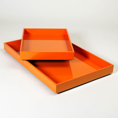 Stack Rectangle Tray-Orange - S/2