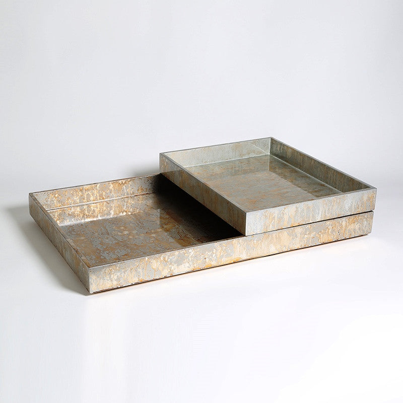 Champagne Silver Leaf Rectangle Trays - S/2