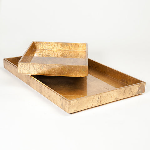 Luxe Gold Leaf Rectangle Trays - S/2