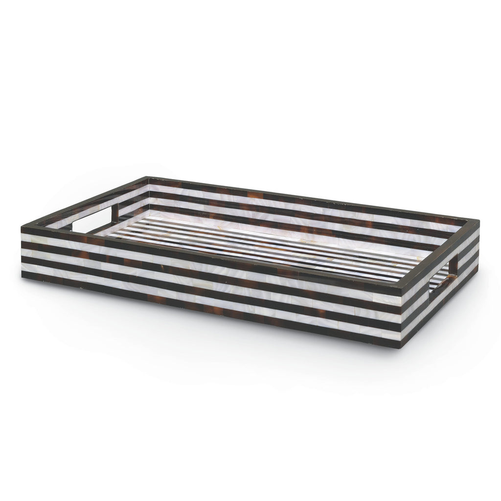 Z- Black and White Shell Striped Tray