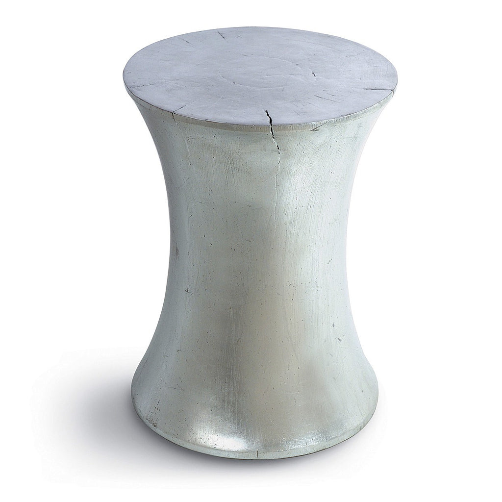 Hourglass Stool/Table - Silver Leaf