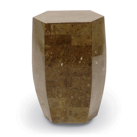 Taupe Stone Octagon Stool - Indoor/Outdoor