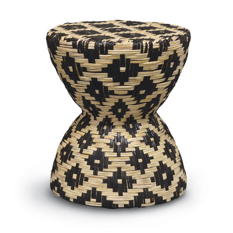 Woven Rattan Black & Natural Hourglass Stool/Table