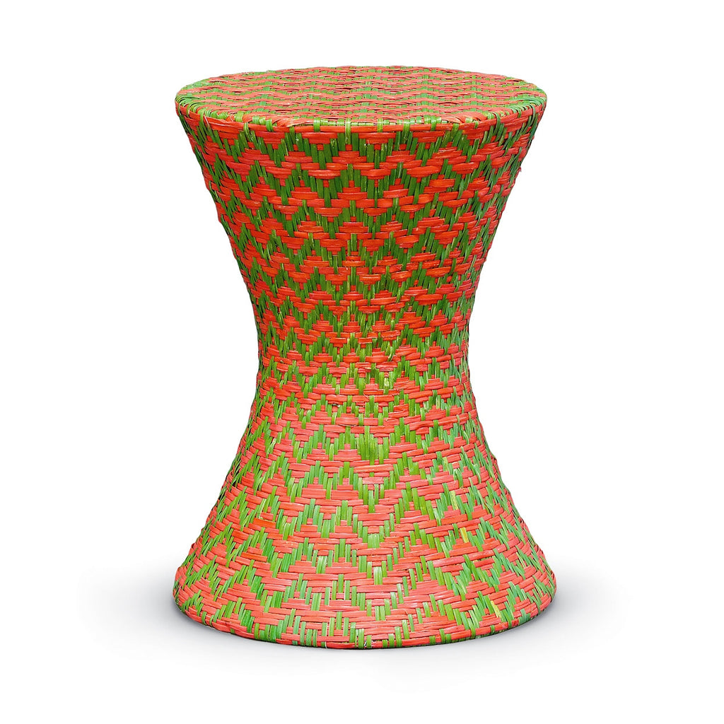 Woven Rattan Chevron Hourglass Stool/Table