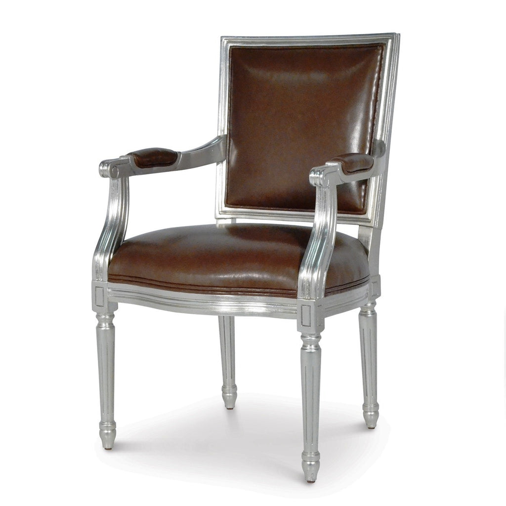 Lyon Square Back Arm Chair - Silver Leaf
