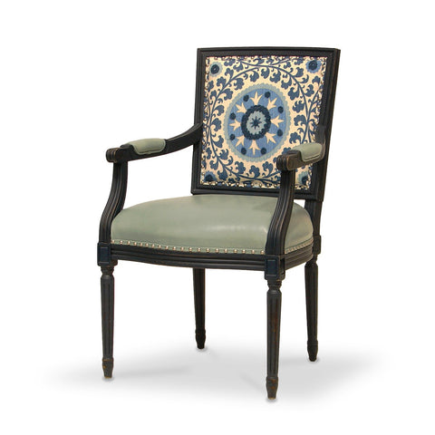 Lyon Square Back Arm Chair  - Blue Medallion