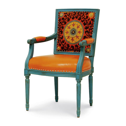 Lyon Square Back Arm Chair  - Orange Medallion