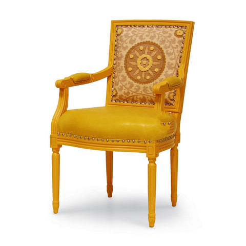 Lyon Square Back Arm Chair  - Yellow Medallion