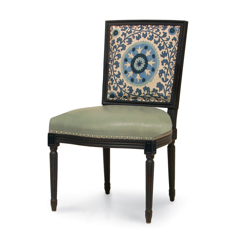 Lyon Square Back Side Chair  - Blue Medallion