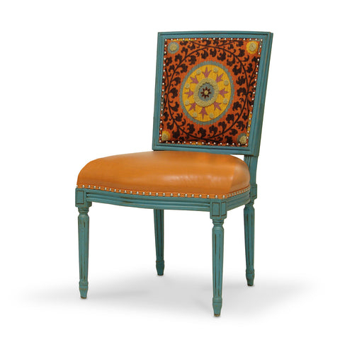 Lyon Square Back Side Chair  - Orange Medallion